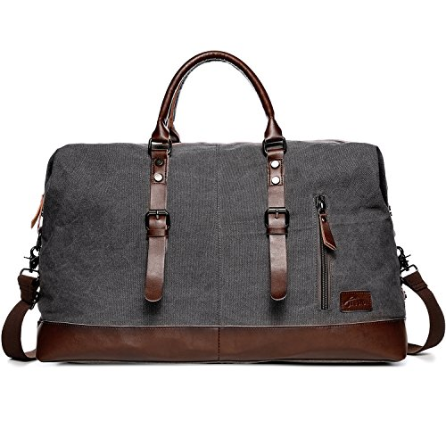 Reisetaschen Damen Herren, Fresion Canvas Handgepäck Tasche, Vintage Urlaub Weekender Tasche Travel Bags, Reise Duffel Bag mit der Großen Kapazität (Grau) (Reisen Begleiter Tote)