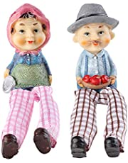 SOME-THING DIFFERENT Cute Romantic Old Couple Hanging Legs Showpiece with Pink Scarf and Grey Hat (Set of 2 Statues)