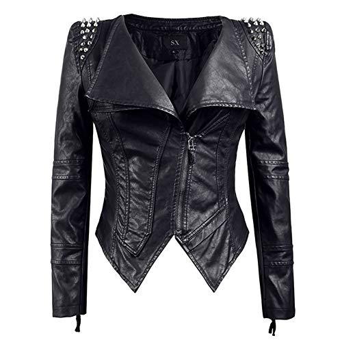 GWDYE Frauen Moto Jacke, Kunstleder Jacke, Beschlagene Punk Style Cropped Jacke, Rundhals Biker Ledermantel, Reißverschluss abnehmen Punk Kunstleder, schwarz,M -