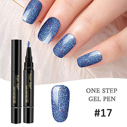 VANMO Nail Gel 1 Pc 3 In 1 Step Pen One Step Nail To Use UV Temperature Change Gel UV nagellack von gel shellac set nagellack nail polish set soak off gel Nude Farbe,Sternenhimmel Blau - Beauty Nail Polish Pop