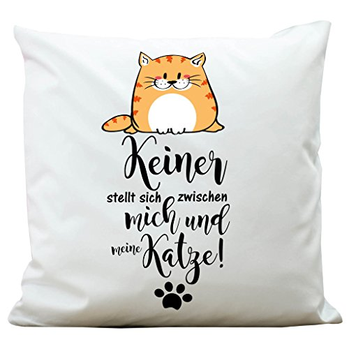Wandtattoo-Loft ® Bedrucktes Kissen Katze und Spruch