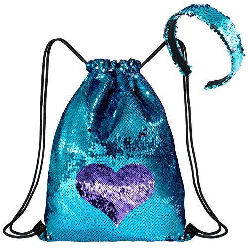 WolinTek Mermaid Borsa con Paillettes Zaino Borsa Paillettes Reversibili Glitter con Fascia,Escursionismo Borsa a Tracolla Palestra,40 × 33 cm (Blue Purple)