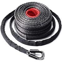 Funnyrunstore 9.5mm * 28m Synthetic Winch Line Cable cuerda 20500LBs Hook + Hawse Fairlead para vehículo todo terreno Vehicle Utility Vehicle (negro + gris + rojo)