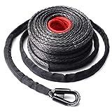 Funnyrunstore 9.5mm * 28m corda cavo di linea sintetica dell'argano 20500LBs gancio + Hawse passacavo per fuoristrada veicolo sportivo Utility Vehicle (nero e grigio e rosso)