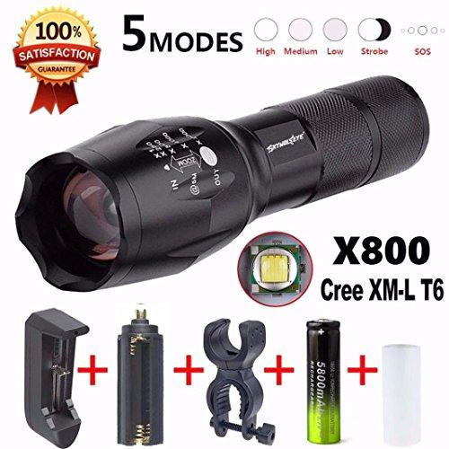 Internet 4000 lumens 5 Modes torche G700 LED Zoom lampe de poche XM-L T6 X 800 militaires torche Lumière de bicyclette+18650 3000mAh batterie Rechargeable + chargeur + Support de piles AAA + pince clip de bicyclette
