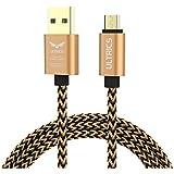 Ultrics Câble micro USB [1,8- 2m]–câble de chargement plus rapide, durable, avec coque en métal durable, nylon tressé, durée de vie de plus de 10000pliage, pour Samsung Galaxy, HTC, Nokia, Nexus, LG, Motorola, smartphones Android et tablettes