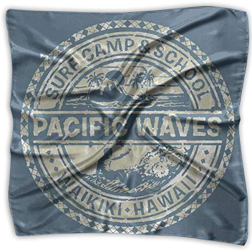 JJIAYI Mixed Designs Silk Square Scarves Bandana Scarf, Pacific Waves Surf Camp School Hawaii Logo Motif Artsy Effects Design,Womens Neck Head Set -