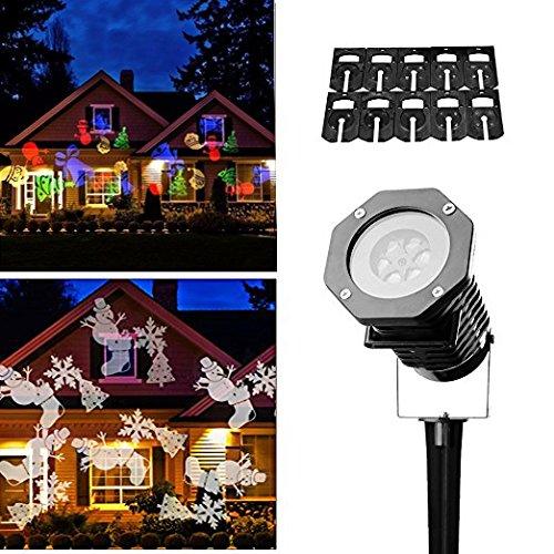 LED Projektionslampe,Drillpro Weihnachten 10 Projektor Lichteffekte IP65 wasserdichte Beleuchtung Schneeflocke Landschaft Spotlight Draussen LED Beamer Lampe Weihnachtslicht,für Weihnachten Hochzeit Party Garten Haus Nachtlicht Dekor