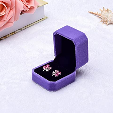 IGEMY Fashion Velvet Engagement Wedding Earring Ring Pendant Jewelry Display Box Gift (purple)