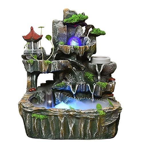 Zimmerbrunnen Indoor Simulation Harz Steingarten Wasserfall Statue Wasserfall Desktop Brunnen Geomantic Meditation Feng Shui Home Luftbefeuchter Decor
