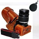First2savvv XJPT-760D-09uv braun Ganzkörper-präzise Passform PU-Leder Kameratasche Fall Tasche Cover fürCanon EOS 760D 750D mit 18-200 mm lens 18-135 mm lens mit UV-Objektiv-Tasche