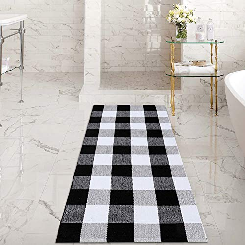 Winwinplus Schwarz/Weiß 100% Baumwolle Kariert Teppiche handgeflochtenem Checkered Teppich waschbar Rag Überwurf Teppiche, für Küche 、 Badezimmer 、 Wohnzimmer, Baumwolle, Plaid, 23.6''x51.1'' (Rag Teppiche 4 X 6)
