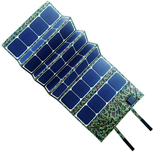 EBAT 120W Faltbares Solarpanel SunPower Solar Ladegerät (5V USB mit iSolar Technologie + 18V DC Ausgang) für Laptop, Tablet, iPad, iPod, Smartphone, iPhone (Tarnung)