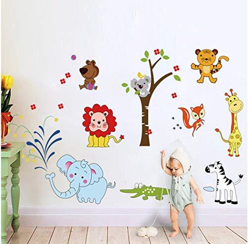Tier Löwe Elefant Wandaufkleber Dschungel Zoo Giraffe Blumen Baum Safari Dekor Kindergarten Baby Kinderzimmer Schlafzimmer Dekore 75 * 120cm