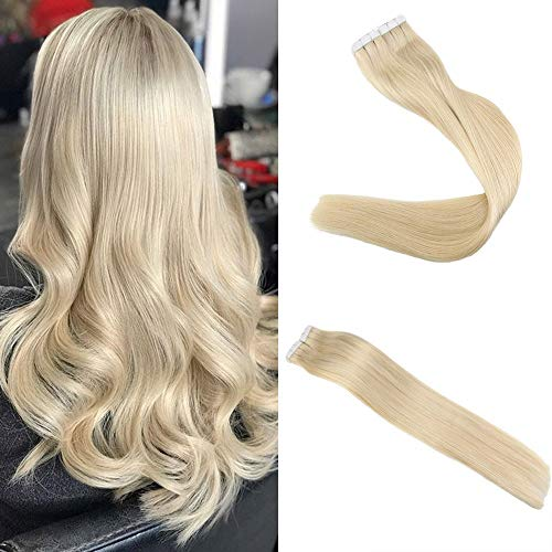 """Easyouth Tape in Den Menschenhaar Erweiterungen 16"""" 100g 40Pcs Pro Paket Farbe #613 Gelbes Blondes Remy Tape in Den Menschenhaar Extensions Haut Schuss Haar Erweiterungen"""