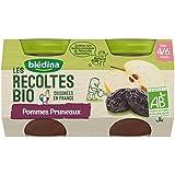 Blédina les Récoltes Bio 2 Petits Pots Pommes Pruneaux 260 g -
