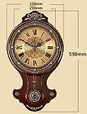 XQY Glocke-Wanduhr Metall Präzise 12-Zoll Antik Holz Kunst Mute Europäischen Schaukel Wohnzimmer Luxus Kunst Retro Massivholz Classics-1 X AA Batterie (Nicht Enthalten),B
