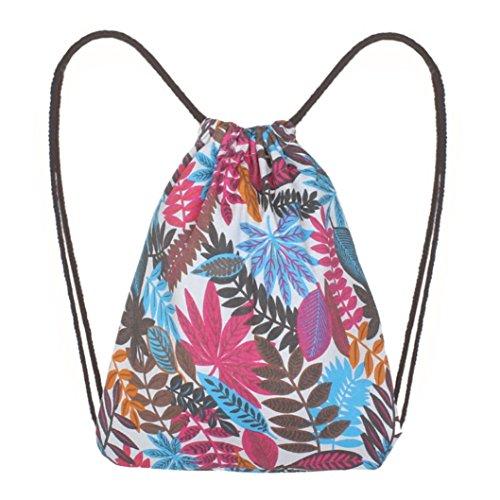 TIFIY Mode Frauen Blatt Druck Hohe Kapazität Kordelzug Rucksack Elegante Umhängetasche Outdoor Eimer Tasche (Weiß)