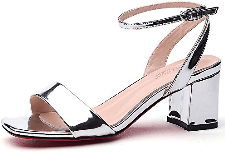 HAIZHEN Chaussures pour Femmes Eté  s Femme Eté Femmes Étudiant Talons Mi-Talon Ouvert Bout  s Mot Boucle Chaussures...B07BYCMDWYParent c8d4d6