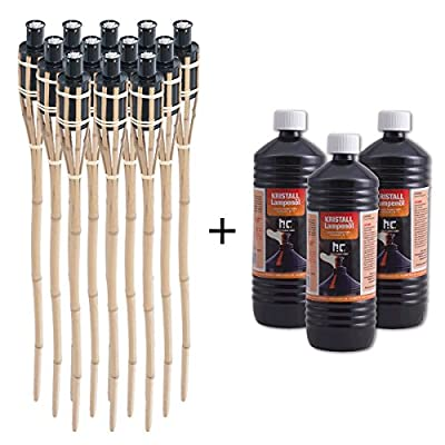 DXP 12 x 35'' Natural Bamboo Garden Tiki Torches Light 90 Centimeter with 3 Litre Lamp Lantern Torch Oil for Yard Party Decorations by DXP