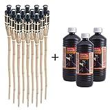 DXP 12 x 90cm Torce di bambù torcia bamboo, Torcia da giardino in bambù, con 3 Litro olio per lampade 3L