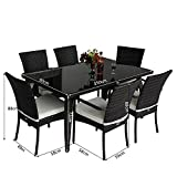 Homcom Rattan Garden Furniture Aluminum Dining Set Patio Rectangular Table with 6-Outdoor Chairs (7 Pieces)