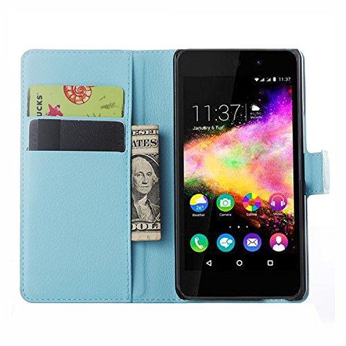 Nadakin Wiko Rainbow Up Hülle , Premium Leder Schutzhülle Flip Mappen Kasten Abdeckung,Handyhülle aus Taschenhülle mit Kreditkartenhaltern, Standfunktion, Geldbeutel, Magnetverschluss für Wiko Rainbow Up (Himmelblau)