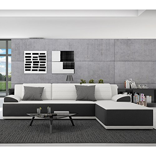 Innocent Corner Sofa With Sleep Function Leatherette Black And White Seat  And Pillows Kiro