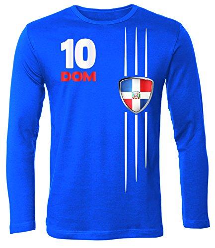 Dominikanische Republik Fussball 5479 Fanshirt Fan Shirt Tshirt Fanartikel Artikel Männer Herren T-Shirts Longsleeve Langarm Blau L -