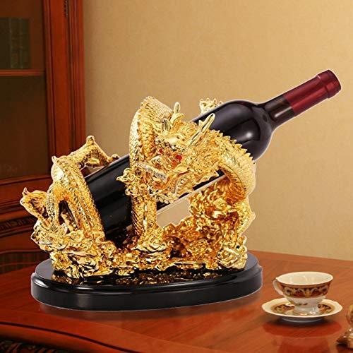 Yuany Golden Dragon Flaschen Weinregal, Weinhalter kreative Starke und dekorative Wein stehend Dekor-A L10.6 * W8 * H8.6inch (27 * 21 * 22cm)