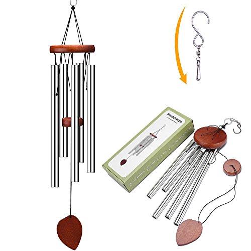 Klangspiel, Windspiel, 60cmmitS-Haken,AluminiumundHolzfürGarten