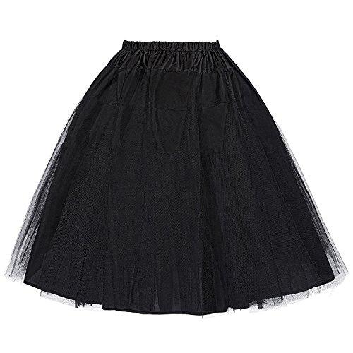 Mujer Enagua Negra para Vestidos de años 50 por la Rodilla Negro...