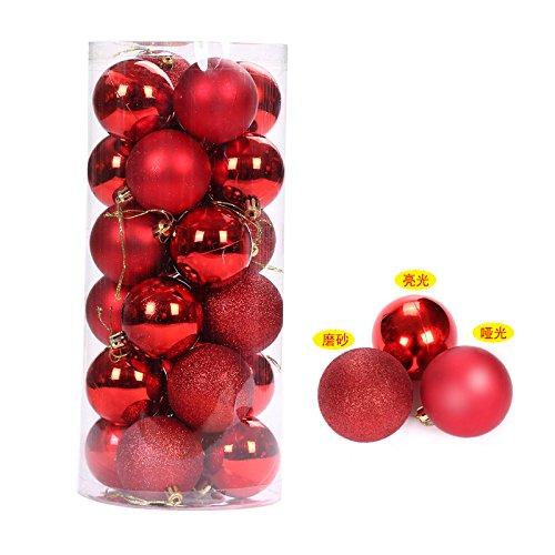HAPPYLR Weihnachtskugeln Mittherbstfest Nationalfeiertag Dekoration Weihnachtskugel Mall Deckenfenster Ornamente Ladenöffnungsartikel, 8 cm Rot/Fass (24 Pack) - 24k Fass