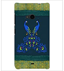 PrintDhaba Peacock D-4601 Back Case Cover for MICROSOFT LUMIA 535 (Multi-Coloured)