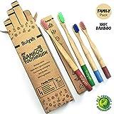 4 Brosses à dents en bois Bambou pour enfants et adultes | biodégradables et 100% compostables, écologiques et vegan | Manche ronde, poils souples | Pack Famille : 2 petites + 2 grandes
