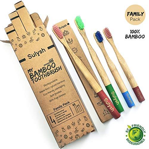 Paquete Familiar 4 Cepillos dientes madera bambú