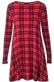 Damen Kleid Langarm Kariert Schottenmuster Swing Ausgestellt Kleid Top Übergröße EU 36-54 - Rot Schottenmuster, L/XL EU 44-46