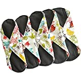Bamboo Charcoal Reusable Cloth Menstrual Pads (5 Pack, Light Flow) Washable Panty Liners For Women, Overnight Sanitary Napkins, Save Money and Reduce Waste