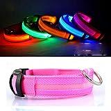 Egurs Safety LED Hundehalsband USB wiederaufladbar Leuchtend dunkelrosa XS