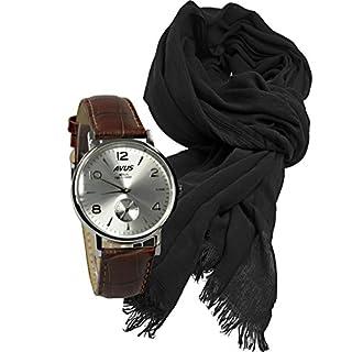 Avus Geschenk Set Herrenuhr Modell Berlin 1921-1998 sportlich elegantes Design in silber, Schal aus Modal mit hohem Tragekomfort