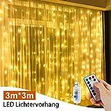 LED Lichterketten Vorhang, Nasharia 3M*3M 300 LED USB Fenster vorhang mit 8 Modi Fernbedienung IP65 Wasserdicht LED Lichtervorhang Kupfer Innen für Hochzeit Weihnachten Zimmer, Warmweiß
