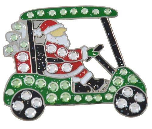 Navika - golf marca palla con tappo intoppo, cristallo Swarovski progettazione e Babbo Natale alla guida di un carrello da golf