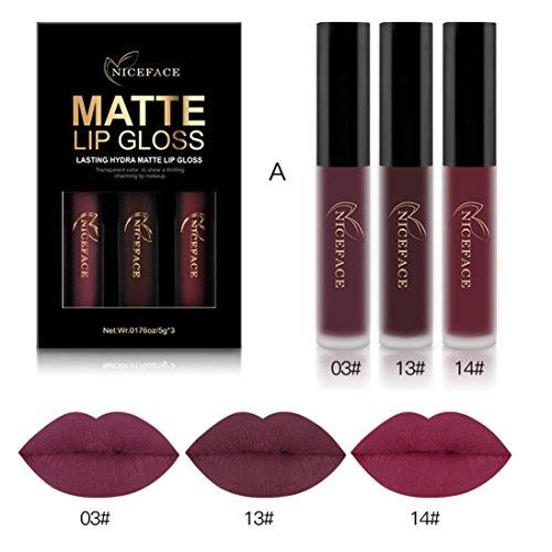E Neue Mode Wasserdicht Matt Flüssigen Lippenstift Kosmetische Lipgloss Kit (A) (Einfaches Schminken Halloween)