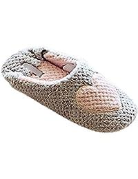 Minetom Mujer Zapatillas Calientes Otoño Invierno Pantuflas De Interior Suave Zapatilla De Estar Por Casa