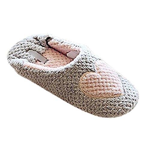 Minetom Mujer Zapatillas Calientes Otoño Invierno Pantuflas De Interior Suave Zapatilla De Estar Por Casa Gris