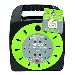 PIFCO Extension Reel Electric Wire Heavy Duty 5M, 10M and 25M Cable in 2 Way and 4 Way Socket Plug with Thermal Fuse and Re-Settable Safety Cutout-13A 230-240V (4 Way 25 Meter)