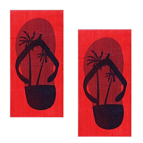 Casa colori - telo mare 140 x 70 cm, velour con divisori per le dita, colore: rosso, cotone, 2x dessin 1, 140x70 cm