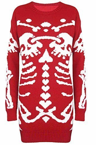 Damen Halloween Skelett Knochen Bedruckt Enganliegend Tunika Kleid Top 8 10 12 14 - Rot - Gerippt Medium Strick Xmas, M EU 38 - Ribbed Knit Tunika