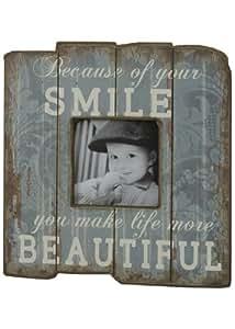 Condecoro cadre smile-life you make more beautiful shabby vintage cadre photo en bois pour photo de 8 x 8 bleu