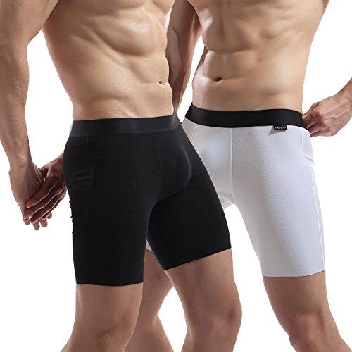 ack Kein Formaldehyd Unterwäsche Boxershorts Micro Modal Boxershorts Stretch Super weich Männer Boxer Briefs (Extra Lange, Frei Abgeschnitten), Schwarz Weiß M ()